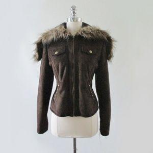 Faux Suede & Fur Britney Sweatshirt Jacket L